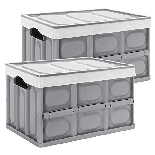 Yorbay Cajas de Almacenamiento Plegables de Plástico, 2 Unidades Cubos de almacenaje con Tapa Gris (28L)
