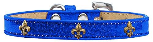 Mirage Pet Products Bronze Fleur de Lis Widget Hundehalsband blau EIS, Größe 16