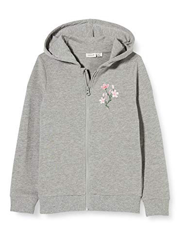 NAME IT Mädchen NKFBEATE SWE CARD WH UNB CAMP Sweatshirt, Grau (Grey Melange), 122-128