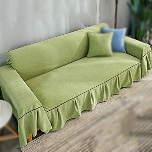 JRAVELR Sofabezug Mit Rock Einfache Installation Einzigartige Textur Sofa Armchair Throws Blanket Sofabezüge Moderner Stil Green 170x360cm