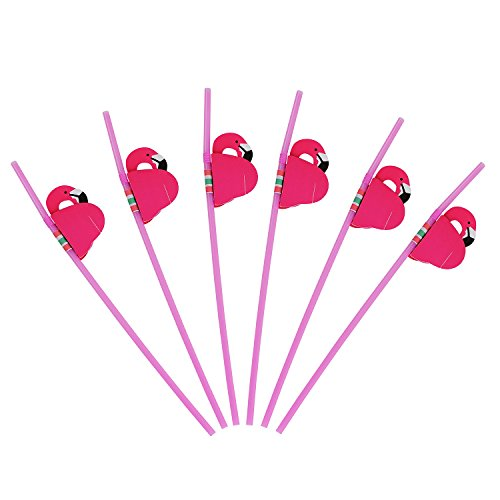 ALINK 50 Pink Flamingo Straws, Plastic Drinking Straws for Luau Party Supplies/Hawaiian/Birthday/Pool Party Decorations