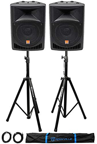 """Pair Rockville Power Gig RPG8 8"""" Powered Active 800 Watt 2-Way DJ PA Speakers"""