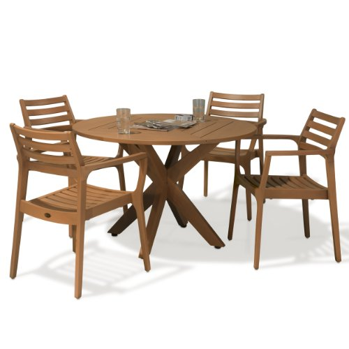Hot Sale Best Selling  Byron Bay 5-Piece Outdoor Eucalyptus Wood Dining Set
