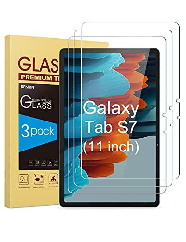 SPARIN 3 Stück Schutzfolie kompatibel mit Samsung Galaxy Tab S7 2020, Einfach Instalisieren, Anti-Kratzer,Bildschirmschutzfolie mit Montagerahmen