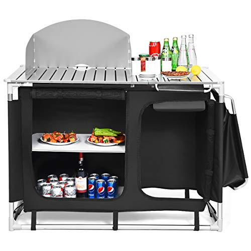Giantex Outdoor Camping Kitchen Table, Portable Camping Grill Table with Windscreen and Remove Sink, Outdoor Camping Cook Station for BBQ Party Picnics Backyard Activities