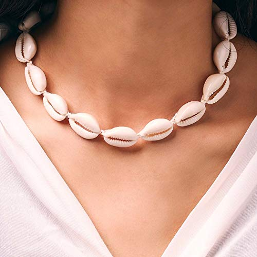 Yean Boho Trenzado Seashell Collar Beach Puka Shell Collares Cadena Gargantilla Joyería para Mujeres y Niñas (Marfil)