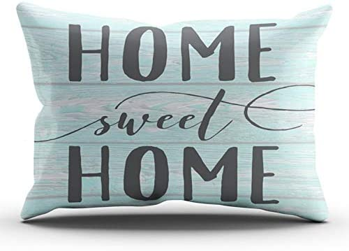 WULIHUA Throw Pillow Covers Mint and Turquoise Home Sweet Home Aqua Chippy Wood Accent Lumbar product image
