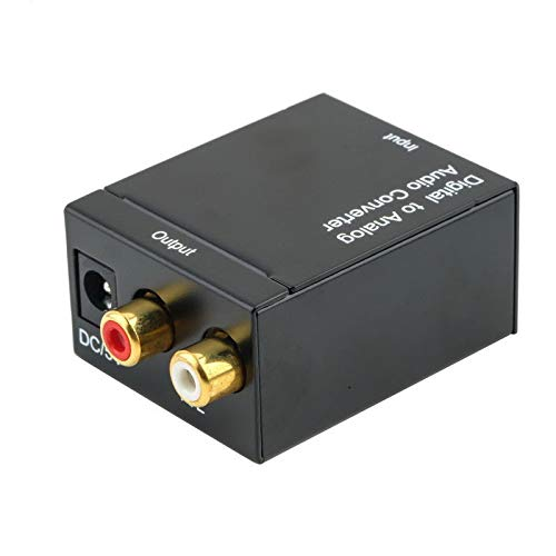 Digital Optical Toslink SPDIF Coax to Analog RCA Audio Converter Adapter with Fiber Cable