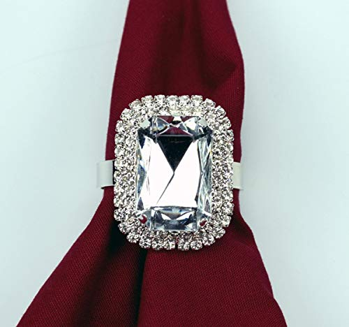 Yacanna Crystal Gemstone Napkin Rings for Christmas, Holidays, Dinners, Parties - Set of 4 Napkin Holders