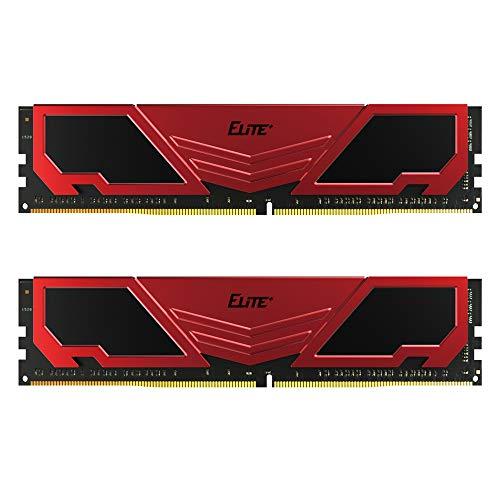 TEAMGROUP Elite Plus DDR4 16GB Kit (2x8GB) 2400MHz PC4-19200 CL16 Unbuffered Non-ECC 1.2V U-DIMM 288 Pin PC Computer Desktop Memory Module Ram Upgrade - Red & Black - TPRD416G2400HC16DC01