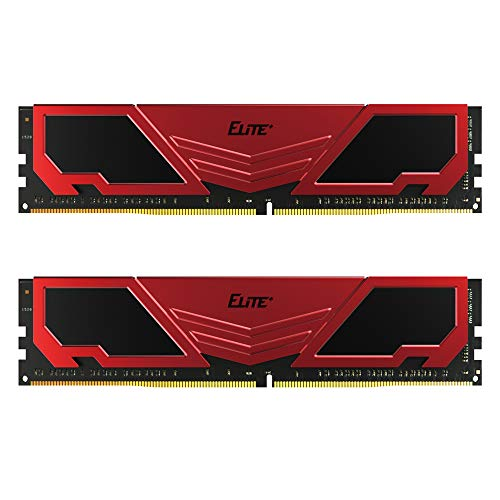 TEAMGROUP Elite Plus DDR4 16GB Kit (2 x 8GB) 2666MHz PC4-21300 CL19 Unbuffered Non-ECC 1.2V U-DIMM 288 Pin PC Computer Desktop Memory Module Ram Upgrade - Red & Black - TPRD416G2666HC19DC01