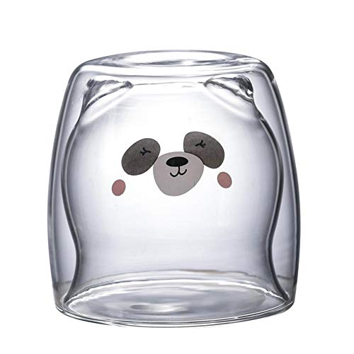 Energeti 3D 2 niveles Lovely Panda Bear Vasos de cerveza innovadores Vasos de café de doble pared resistentes al calor Mañana Vaso de leche Vaso de jugo Vaso resistente al calor Vaso de chupito