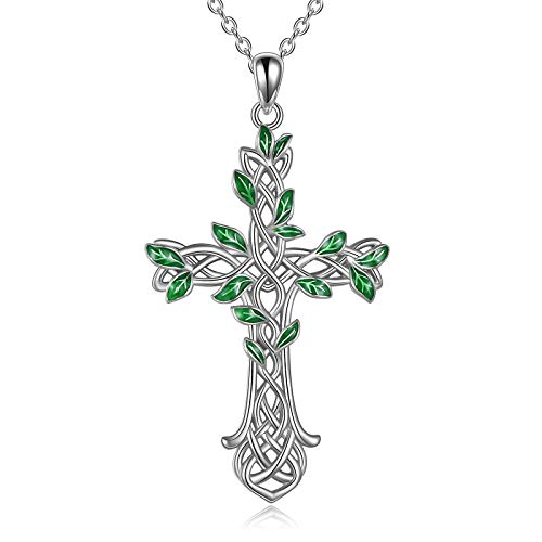 Cross Necklace 925 Sterling Silver Celtic knot Tree of Life Cross Necklace Pendant Gifts for Women Men (Silver cross with green leaf)