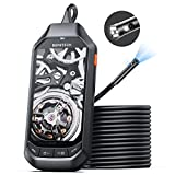 4.5' IPS Screen Borescope, DEPSTECH 1080P HD Dual Lens Endoscope Camera with Split Screen, 7.9mm IP67 Waterproof Inspection Camera with 3500mAh Battery,16.5FT Semi-Rigid Snake Cable,EVA Case,32GB Card