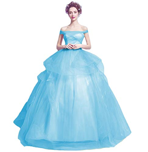 Dydsz Women's Off The Shoulder Evening Dresses for Weddings Party Ball Gown Prom Dress 2-Lightblue 18 Plus