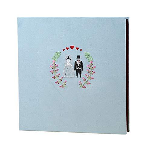 XYSQWZ Album Fotografico per Bambini, Matrimonio, Copertina Ricamata in Stoffa, Pagina Interna Autoadesiva, 20 Pagine (40 Superfici) Pagine Interne Foto Turismo Amore (Dimensione: Grande)