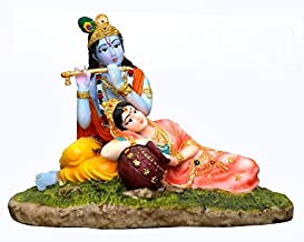 "Radha Krishna Murti at Jamuna Hindu Goddess and God Idol/Statue/Murti/Figurine(8.5""x4.5""x6.5"")-Polyster Resin-Multicolour"