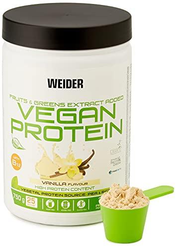 Weider Nutrition WJW.200302 Vegan Protein, 100% Proteine Vegetali da Piselli (Pisane) e Riso, senza Glutine, senza Lattosio, senza Olio di Palma, 750 g, Sapore di Vaniglia