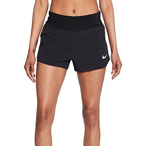 NIKE Eclipse 2In1 Pantalones Cortos, Negro y Plateado, S para Mujer