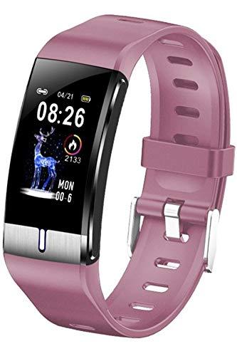 Fitness Armband Sport Uhr Pulsuhr Körperfett Wasserdicht IP68 Blutdruckmesser Schrittzähler Schlaftracker SMS Anruf Benachrichtigung Bluetooth IOS Android Silikon Rosa