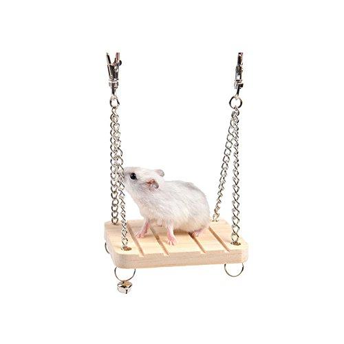 Runfon Altalena Legno Criceto Giocattolo in Legno per Criceto Ecureuil Mouse Piccolo Animali da Compagnia
