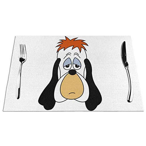 Skyteelor Droo-py Dog face PVC Woven Waterproof Placemats for Dining Table Set of 1 PCS Kitchen Mat Heat Resistant Non Slip Placemat 12x18 inch