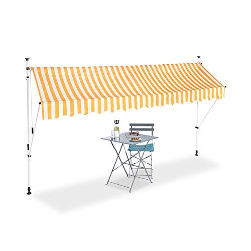 Relaxdays Klemmmarkise, Balkon Sonnenschutz, einziehbar, Fallarm, ohne Bohren, höhenverstellbar, 350 cm breit, gelb gestreift