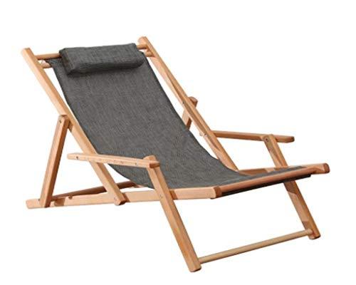 IAIZI - Chaises de Plage en Bois, Chaise Longue de Loisirs en Plein air Se Pliant en Bois Jardin Plage siège de Patio Chaise Longue (Color : Gray)