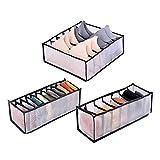 YUIP Cassetto Organizer per Biancheria Intima, Organizer Cassetti Divisori per Cassetti, Ballery Cassetto Organizer per Biancheria Intima, Reggiseni, Calze, Fazzoletti e Cravatte, Set di 3, Nero