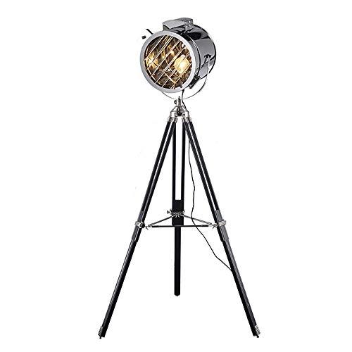 HtapsG Lámpara Escritorio Lámpara de Oro y Plata Nórdica Búsqueda de Metal Restaurante Lámpara de pie Retro Industrial Trípode LED LED Sala de Estar Decoración Lámpara de pie 800 * 1750 (mm)
