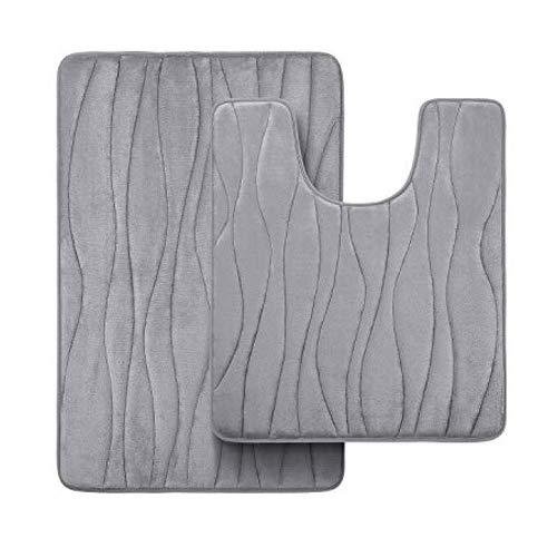 Homaxy Badematten Set 2 teilig Memory Foam Badezimmerteppich WC Vorleger mit Ausschnitt Set Saugfähige rutschfeste Badeteppiche Set Waschbar Badvorleger Set 2teilig, Grau