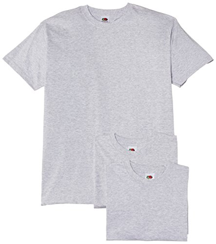 Fruit of the Loom Valueweight T Shirt 3 Pack, Gris, (Taille Fabricant: Large) Homme