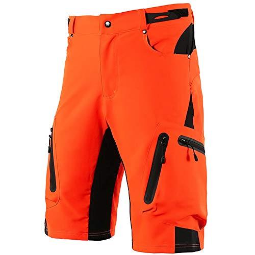 LXZH Pantalones Cortos MTB Downhill Hombre, Holgados Pantalones Ciclismo Verano Deporte Montaña Bike Bicicleta Descenso Shorts, Secado Rápido Transpirable,Naranja,XL