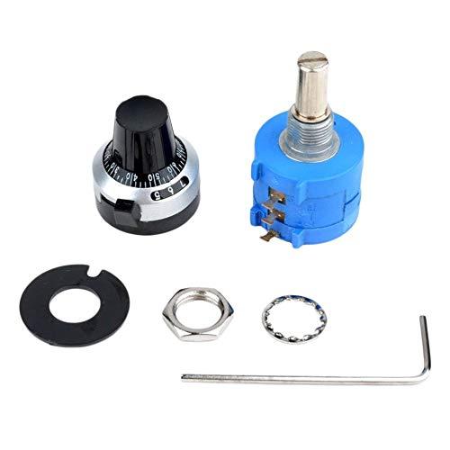 JICHUI 3590 10-Gang-Potentiometer 10k Ohm Drahtmultiturn einstellbarer Widerstand Präzision mit Rotary Drehknopf 6 mm Welle