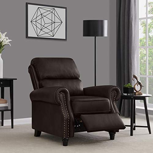 Domesis Cortez - Leather Push Back Recliner Chair, Brown Leather