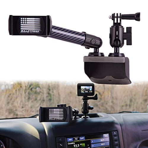Dash Mount Cell Phone Holder Jeep Compatible Wrangler JK and JKU (2011-18) 2 Mounts for Action Camera and GPS Navigation with iPhone and Android Smartphones – Metal Base/Carbon Fiber Kevlar Arm