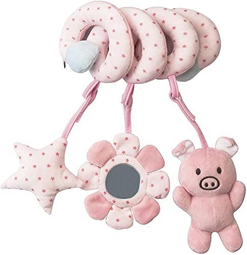 Juguete del cochecito de la cama del bebé del niño, Juguetes colgantes del cochecito del bebé, Juguete del asiento del coche de la felpa del animal espiral, Sonajeros de la cuna(cerdo)