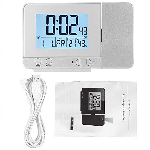 HERCHR Multifunktions-Projektionsuhr, LED-USB-Wecker mit Temperaturanzeige für Schlafzimmergeräte