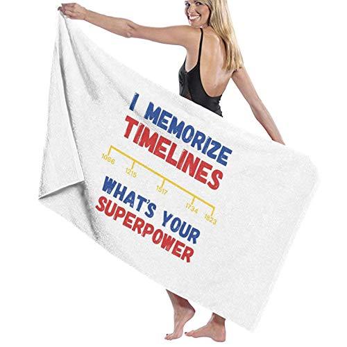 U/K Toalla de baño con memorización de línea de tiempo de superhéroe, toalla de secado rápido