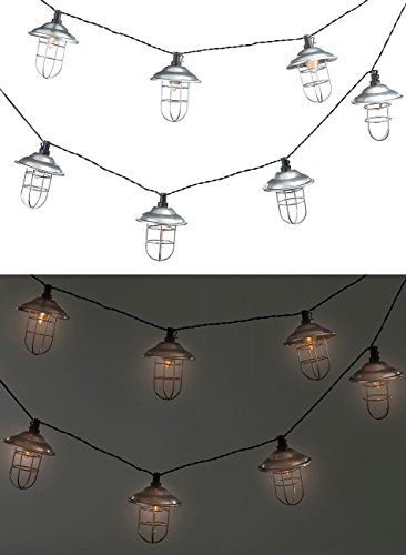 Lunartec LED Lichterkette außen: Solar-LED-Lichterkette mit 10 Metall-Laternen, warmweiß, IP44, 1,6 m (Solarlichterkette außen)