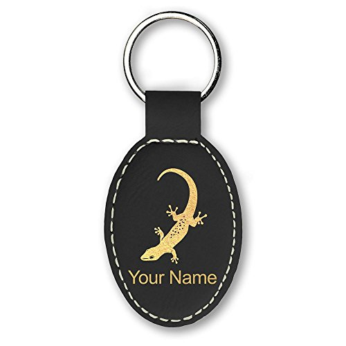 Oval Keychain, Gecko, Personalized Engraving Included (Black)