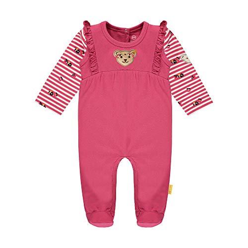 Steiff Baby-Mädchen mit süßer Teddybärapplikation Set Strampler + T-Shirt Langarm, Carmine, 056