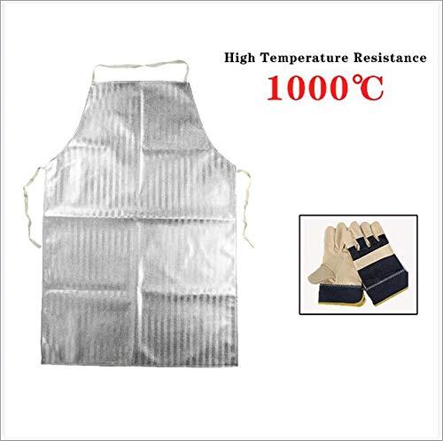BJ&HH Delantal Aluminizado Resistente Al Calor 1000 con Guantes De Papel De Aluminio...