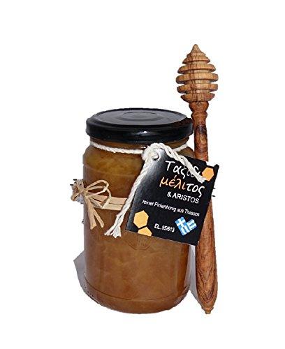 ARISTOS Oster Weihnachten Geschenk-Set | Griechischer Pinien Honig 480g Pinienhonig mit Honiglöffel Olivenholz | Geschenk Idee Muttertag