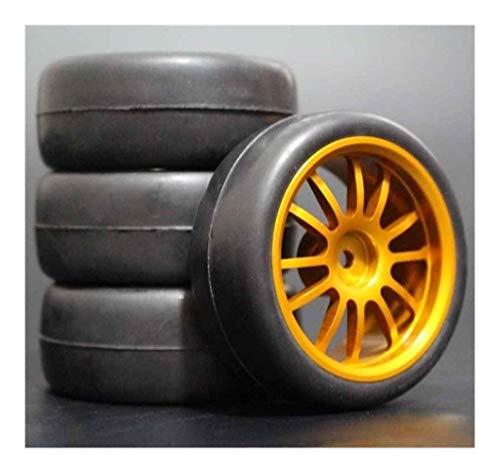 Nuevo 1 Juego de 4 piezas de neumáticos de carreras, llanta de rueda de Metal, 4 piezas para RC 1/10, coche en carretera para HSP 94123/94103/94122 D4 / D3 FW06 108G, accesorios de piezas de repuesto