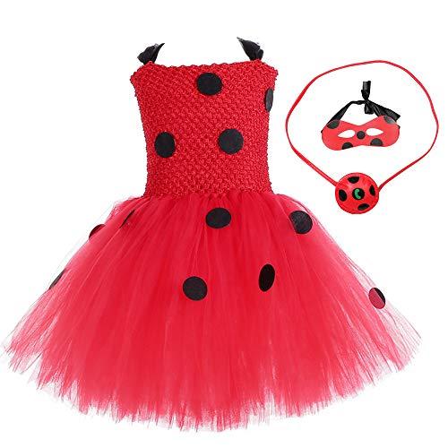 Marienkäfer-Kostüm für Mädchen, Prinzessinnen-Kostüm, Tier-Marienkäfer, Cosplay, Tutu, Tüll, Netz, Rüschen, Ärmel, Halloween, Party, rot