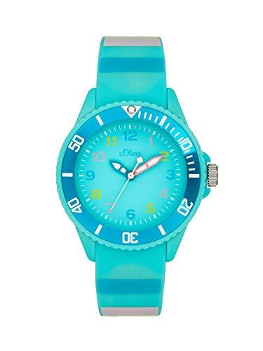 s.Oliver Mädchen Analog Quarz Uhr mit Silicone Armband SO-4004-PQ