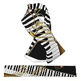 Flanell-Kreuz-Schal, elegant, goldfarbene Noten, Klaviertaste, schwarz, Halstücher, Plüsch, doppelseitig, weich, leicht, für Damen, Herren und Jugendliche