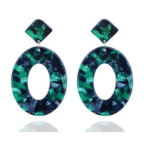 Pendientes de placa de acetato acrílico tendencia de moda pendientes geométricos ovalados simples pendientes-verde