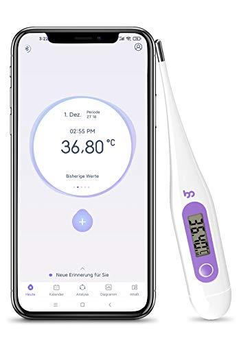 Femometer basalthermometer zur zykluskontrolle(Violett),Fruchtbarkeitsthermometer mit APP((iOS & Android)), Digitales Thermometer 2 Nachkommastellen